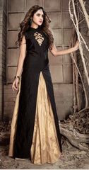 Beige And Black Gown Style Abaya Type Anarkali Suit With Dupatta
