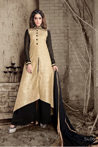 Beige And Black Silk Front Slit Type Anarkali Suit With Dupatta