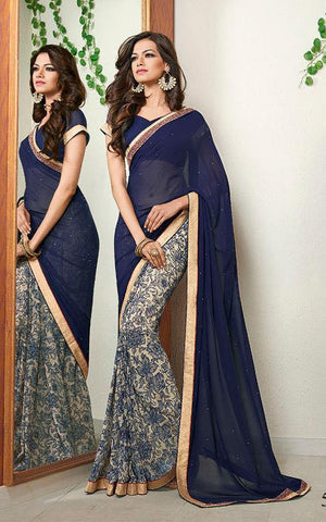 Saree Blue  ,Poly Georgette