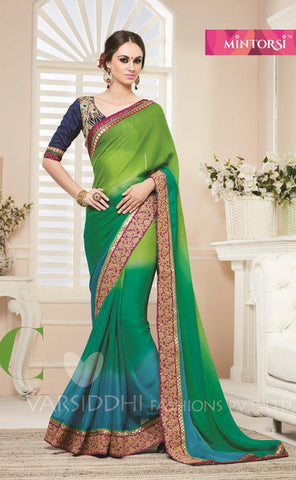 Green,Georgette,Designer party wear saree with designer blouse