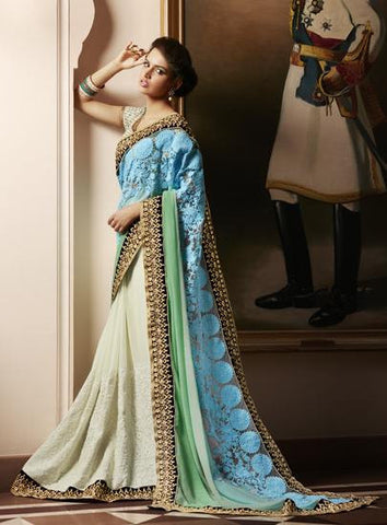 Cream,Sky Blue,Net,Georgette,Designer heavy bridal saree