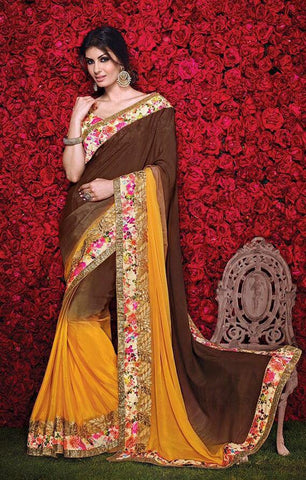 Brown , yellow,Silk,Party wear designer saree