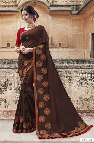 Brown Georgette Party Wear Saree With Maroon Blouse
