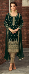 Green Velvet Party Wear  Salwar Kameez With Dupatta