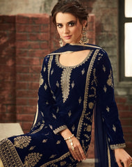 Blue Velvet Party Wear  Suit With Dupatta