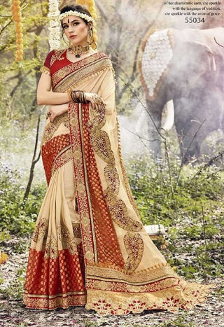 Beige Georgette Partywear Saree With Red Blouse