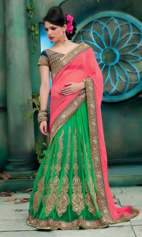 Saree Green , Yellow,Net , Georgette