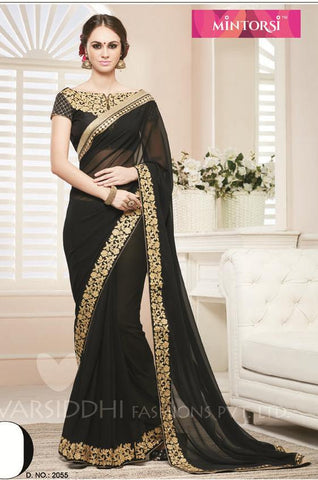 Black,Georgette,Designer party wear saree with designer blouse