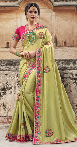 Yellow Georgette Party Wear Saree With Pink Blouse