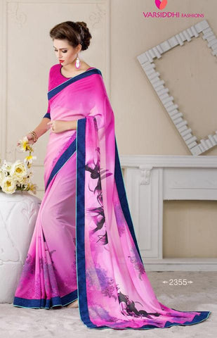 Multicolor,Georgette,Causal prinded designer saree