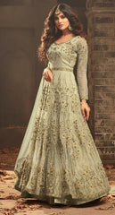 Light Green Net Party Wear Anarkali Suit With Light Green Dupatta