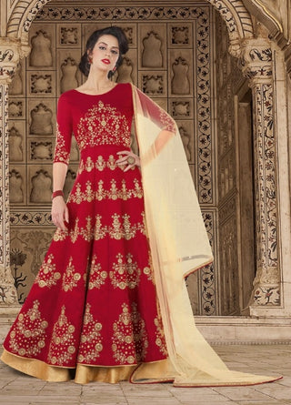 Red Silk Embroidered Backless Anarkali Suit With Dupatta