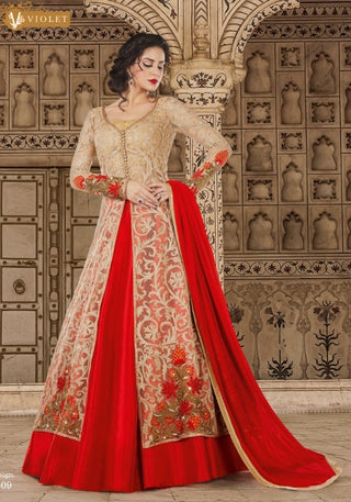 Beige Red Heavy Embroidered Front Slit Type Net Anarkali  Dress with Dupatta