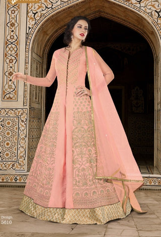Pink Silk Heavy Embroidered Anarkali Dress With Dupatta