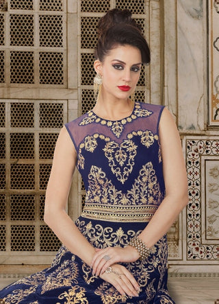 Blue Valvet Backless Gown Style Anarkali With Dupatta