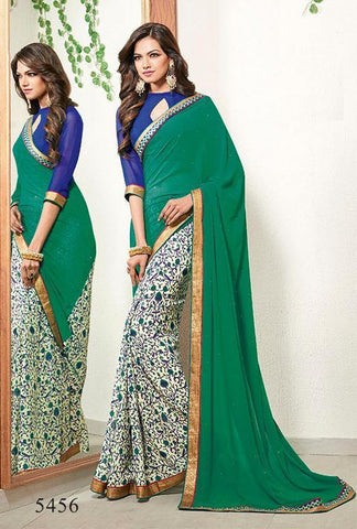 Saree Green,Poly Georgette
