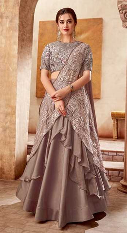 Brown  Satin Silk Party Wear Lehenga With Brown Choli And Brown Dupatta