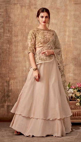 Beige Dual Tone Silk Georgette Party Wear Lehenga With Beige Choli And Beige Dupatta