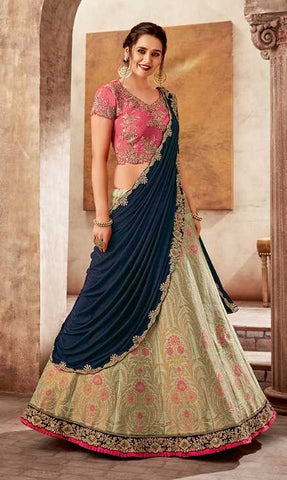 Green Weaved Silk Party Wear Lehenga With Pink Choli And Blue Dupatta