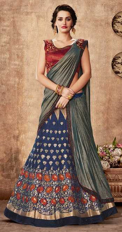 Blue Weaved Silk Party Wear Lehenga With Maroon Choli And Grey Dupatta