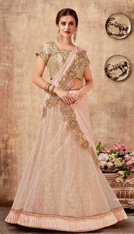 Pink Net Party Wear Lehenga With Pink Choli And Pink Dupatta