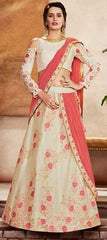 Off-White Weaved Silk Party Wear Lehenga With Off-White Choli And Peach Dupatta