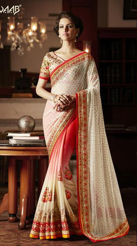 White,Red,Net,Georgette,Designer heavy bridal saree