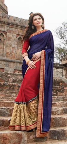 Red , Blue,Georgette,Party wear designer saree