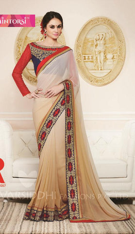 Off White,Georgette,Designer party wear saree with designer blouse