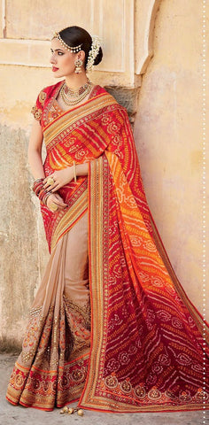 Multicolor,Bandhani,Heavy designer party wear saree