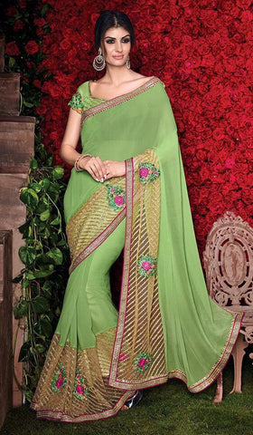 Green,Georgette,Party wear designer saree