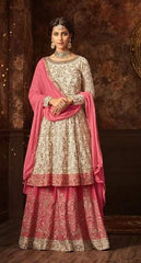 White Pink Georgette Sharara Salwar Kameez With Pink Dupatta