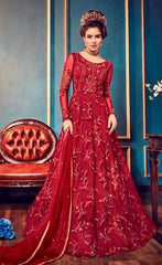 Red Net Party Wear  Anarkali Dress With Red Dupatta