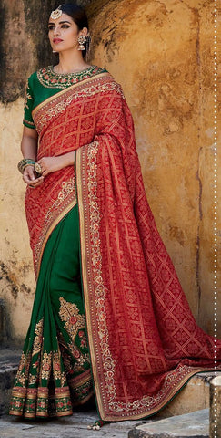 Red , Green,Jacquard gadhchola,Heavy designer party wear saree