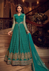 Turquoise Net Party Wear Anarkali Suit With Turquoise Dupatta