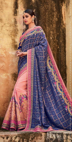 Blue , Pink,Jacquard gadhchola,Heavy designer party wear saree
