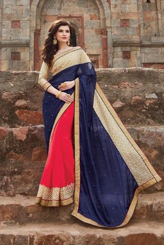 Blue , pink,Chiffon,Party wear designer saree