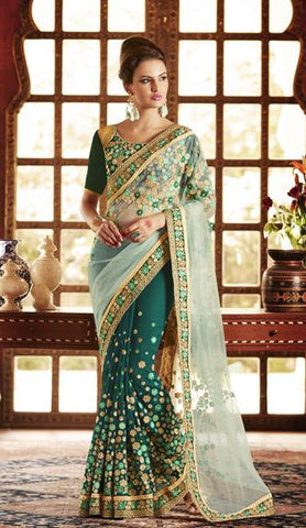 Green,Net,Georgette,Designer heavy bridal saree