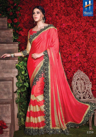 Pink,Crepe,Party wear designer saree