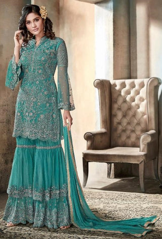 Blue Net Party Wear Anarkali With Pink Dupatta