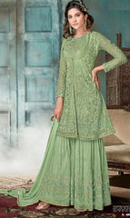 Green Net Party Wear Anarkali With Grey Dupatta