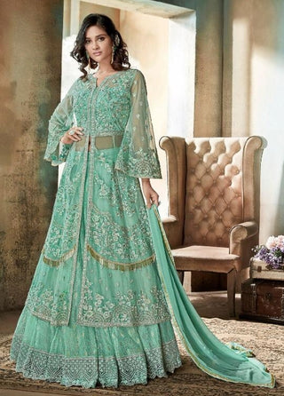 Sea Green Net Party Wear Anarkali Suit With Sea Green Dupatta