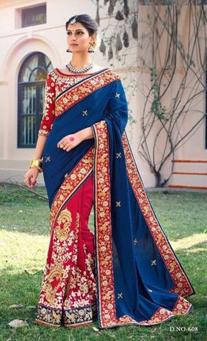 Red Blue Embrodiered Party Wear Saree