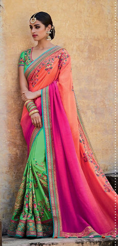 Multicolor,Tussar silk,Heavy designer party wear saree