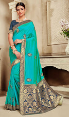 Teal Poly Silk Party Wear Saree With Blue Blouse
