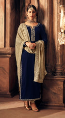 Blue Velvet Straight  Suit With  Dupatta