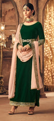 Green Velvet Straight  Salwar Suit With  Dupatta