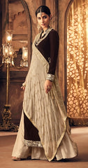 Brown Velvet Straight  Suit With  Dupatta