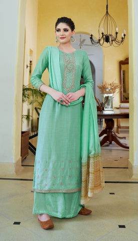 Light Green Cotton Silk Partywear Salwar Kameez With  Dupatta