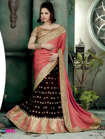 Saree Pink,Net , Georgette